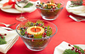 Table setting with real tree decoration — Stock Photo