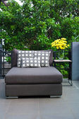 Outdoor patio seating with daybed — Stock Photo