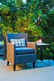 Outdoor patio seating  — Stockfoto