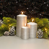 Três velas prata — Fotografia Stock