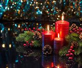 3 つの赤い蝋燭 — ストック写真