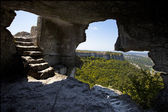 Lookout from the cave and stairs inside — Stock Photo