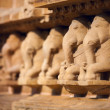 Stock Photo: Elephants bas relief, temple in Khajuraho, India