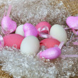 Pink and white eggs with the hearts — Stock Photo