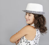 Fasion cute girl in black white hat — Stock Photo