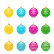 Christmas balls decoration icon set — Stock Vector