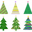 Abstract christmas tree set — Stock Vector