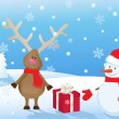 Snowy christmas landscape with deer, snowman and gift — Imagen vectorial