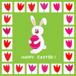 Stock Vector: Easter card with rabbit holding easter egg
