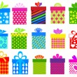 Gift boxes set with different pattern — Stock Vector #36162157