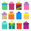Gift boxes set with different pattern — Stock Vector #36162159
