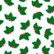 Holly berry seamless pattern — Stock Vector