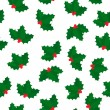 Stock Vector: Holly berry seamless pattern