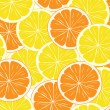 Seamless background of orange and lemon slices — Stock Vector