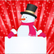 Stock Vector: Christmas background with snowman