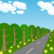 Trees and the road stretches to the horizon — Stock Vector