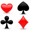 Flat heart,clubs,spades and diamond — Stock Vector