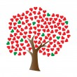 Love tree with heart-shaped leaf — Stok Vektör