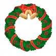 Christmas wreath of holly berry and bell with red ribbon — Stockvectorbeeld