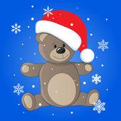 Teddy in christmas cap — Stock Vector
