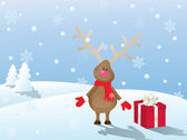 Snowy christmas landscape with deer and gift — Stock Vector