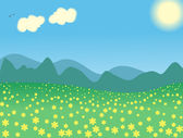 Vector illustration summer day landscape — Stock Vector