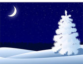 Night winter landscape with lonely tree and crescent moon — Stock Vector