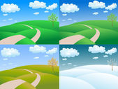Four seasons rolling hills — Stock Vector