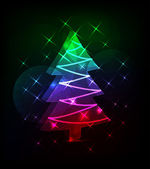 Neon christmas tree — Vector de stock