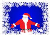 Weihnachten schneeflocke rahmen mit santa claus — Stockvektor