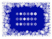 Christmas frame of snowflakes with individual snowflakes — Stock Vector