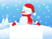 Snowman with banner — Stock Vector
