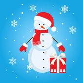 Muñeco de nieve con regalo — Vector de stock