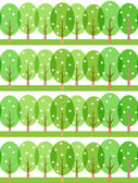 Seamless spring pattern of stylized trees — Stock Vector
