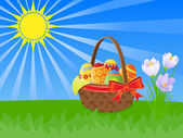 Easter basket and spring flowers illustration with the shining sun — Stock Vector