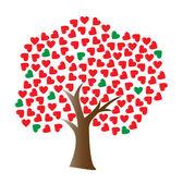 Love tree with heart-shaped leaf — Stockvektor