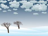 Ilustración landscape.vector de invierno cubierto de nieve — Vector de stock