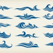 Set from sea waves — Stock Vector