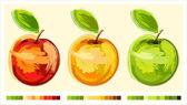 Three drawing apple — Stock Vector