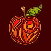 Desenho de maçã com folha verde — Vetorial Stock