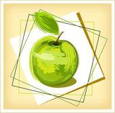 Green drawing apple — ストックベクタ
