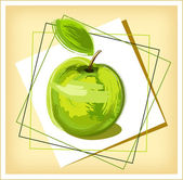 Green drawing apple — 图库矢量图片