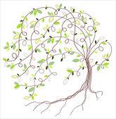 Stylized vector green tree — Stock Vector