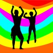 Dancing couple with rainbow — Stock Vector #4104775