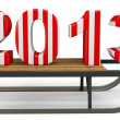 3d Happy New Year 2013 with sleigh — Stock Photo