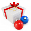 3d Gift box with Christmas balls - Stock Photo