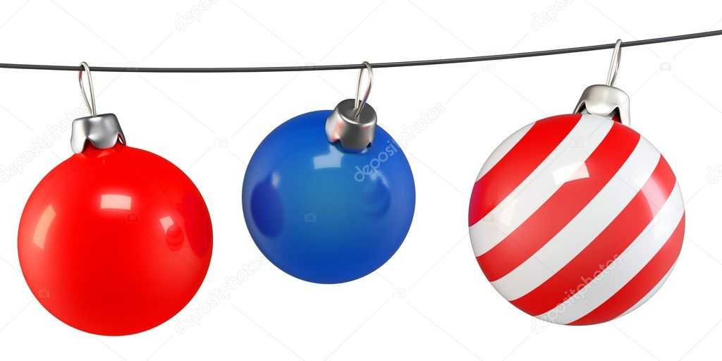3d Christmas balls on a string on white background — Lizenzfreies Foto #12500423