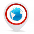 3d round pointer with earth globe — Stock Photo