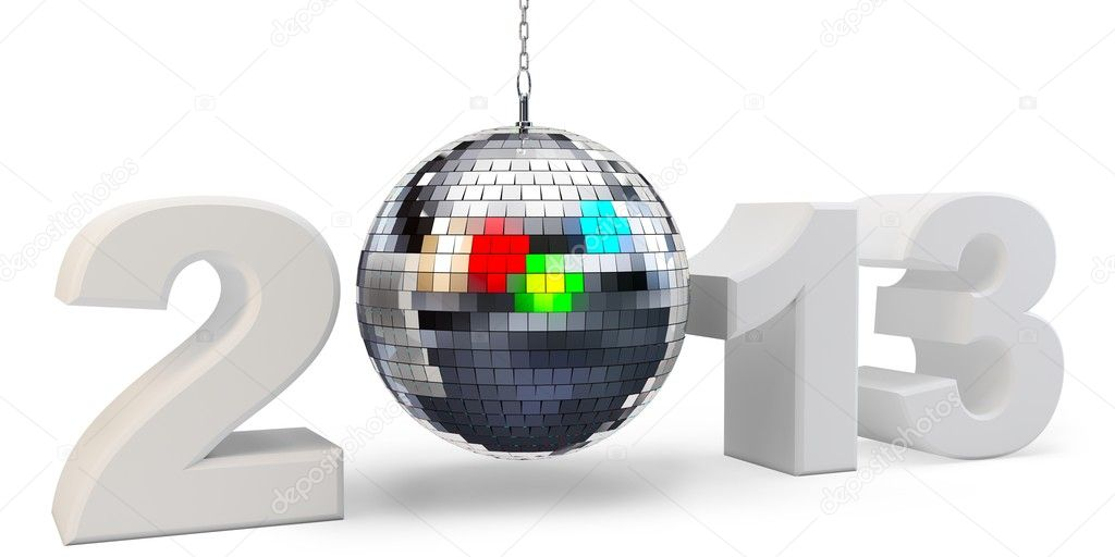 3d year 2013 and disco ball  on white background — Stock Photo #17647237