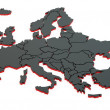 3d black map of europe — Stock Photo